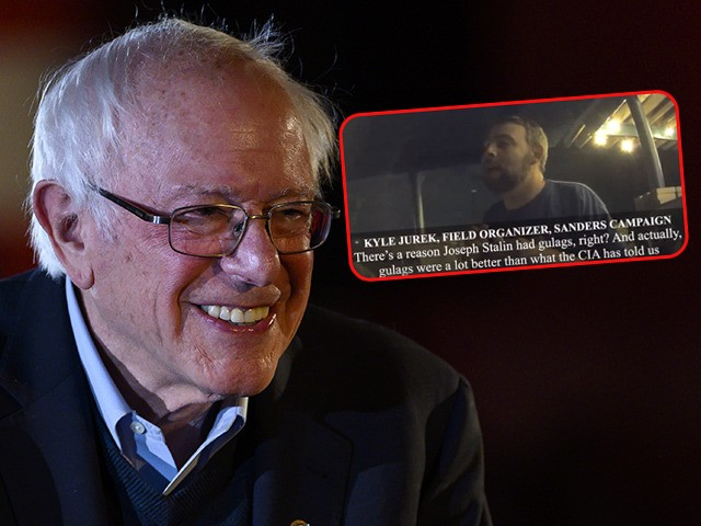 (INSET: Project Veritas screenshot of Sanders field organizer Kyle Jurek) DES MOINES, IA - DECEMBER 31: Democratic presidential candidate Sen. Bernie Sanders (I-VT) leaves the stage after speaking at a New Year's Eve campaign event on December 31, 2019 in Des Moines, Iowa. The focus of many democratic presidential campaigns …