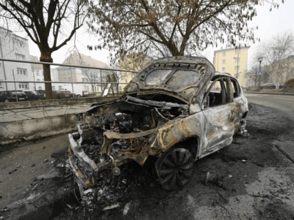 A picture taken on January 1, 2020 shows a burnt out car after the New Year's eve in Strabourg's Neuhof suburb, eastern France. (Photo by FREDERICK FLORIN / AFP) (Photo by FREDERICK FLORIN/AFP via Getty Images)