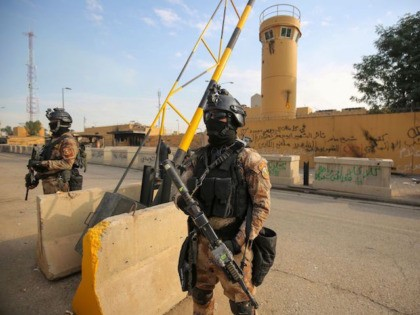 Iraqi counter-terrorism forces stand guard in front of the US embassy in the capital Baghdad on January 2, 2020. - The US embassy siege by pro-Iran protesters in Baghdad lasted just over a day, but analysts warn it could have lasting implications for Iraq's complex security sector and diplomatic ties. …