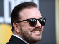 British host Ricky Gervais arrives for the 77th annual Golden Globe Awards on January 5, 2020, at The Beverly Hilton hotel in Beverly Hills, California. (Photo by VALERIE MACON / AFP) (Photo by VALERIE MACON/AFP via Getty Images)