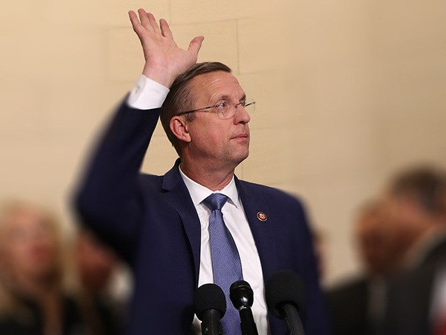 WASHINGTON, DC - DECEMBER 04: U.S. House Judiciary Committee ranking member Doug Collins (R-GA) speaks to members of the press at the conclusion of an impeachment hearing where constitutional scholars Noah Feldman of Harvard University, Pamela Karlan of Stanford University, Michael Gerhardt of the University of North Carolina, and Jonathan …