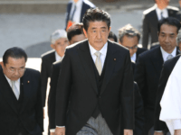 """Japanese Prime Minister Shinzo Abe (C) visits Ise Jingu shrine in Ise, Mie prefecture on January 6, 2020. - Japan's Prime Minister Shinzo Abe, who has tried to carve out a role mediating between Washington and Tehran, said he was """"deeply worried"""" by tensions in the Middle East. (Photo by …"""