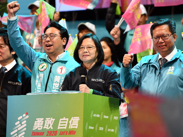 Taiwan's current president and Democratic Progressive Party presidential candidate, Tsai Ing-wen, speaks during a rally ahead of Saturdays presidential election on January 8, 2020 in Taoyuan, Taiwan. Taiwan will go to the polls on Saturday after a campaign in which fake news and the looming shadow of China and its …