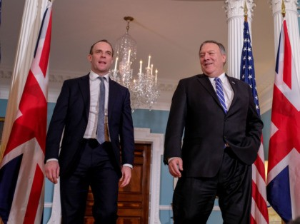 WASHINGTON, DC - JANUARY 08: Secretary of State Mike Pompeo (R) and United Kingdom Foreign Secretary Dominic Raab meet at the State Department on January 8, 2020 in Washington, DC. Earlier in the day, Pompeo and other top administration officials briefed members of Congress on the decision to kill Qasem …