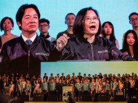 TAIPEI, TAIWAN - JANUARY 10: Taiwan's current president and Democratic Progressive Party presidential candidate, Tsai Ing-wen, speaks during a rally ahead of Saturday's presidential election on January 10, 2020 in Taipei, Taiwan. Taiwan will go to the polls on Saturday after a campaign in which fake news and the looming …