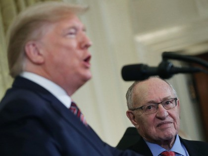 WASHINGTON, DC - DECEMBER 11: Professor Alan Dershowitz listens to U.S. President Donald Trump speak during a Hanukkah Reception in the East Room of the White House on December 11, 2019 in Washington, DC. (Photo by Mark Wilson/Getty Images)