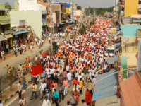 Hindu activists take part in a demonstration against a large planned statue of Jesus Christ in Ramanagar in India's southern Karnataka state on January 13, 2020. - Hundreds of Hindu activists affiliated to India's ruling party rallied on January 13 to protest a planned Jesus statue that will rival Rio …