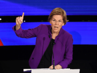 Democratic presidential hopeful Massachusetts Senator Elizabeth Warren speaks during the seventh Democratic primary debate of the 2020 presidential campaign season co-hosted by CNN and the Des Moines Register at the Drake University campus in Des Moines, Iowa on January 14, 2020. (Photo by Robyn Beck / AFP) (Photo by ROBYN …