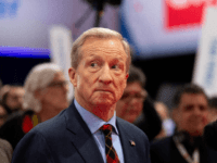 Democratic presidential hopeful billionaire and philanthropist Tom Steyer speaks with the media at the spin room following the seventh Democratic primary debate of the 2020 presidential campaign season co-hosted by CNN and the Des Moines Register at the Drake University campus in Des Moines, Iowa on January 14, 2020. (Photo …