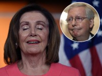 (INSET: Mitch McConnell) Speaker of the House Nancy Pelosi (D-CA) speaks at a press conference to announce the impeachment managers on Capitol Hill January 15, 2020, in Washington, DC. - House Intelligence Committee chairman Adam Schiff will lead the prosecution of President Donald Trump at his impeachment trial in the …
