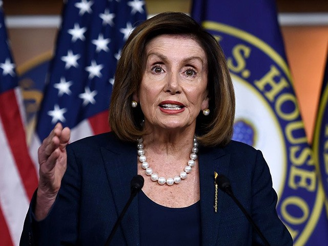 US Speaker of the House Nancy Pelosi, Democrat of California, speaks during her weekly press briefing on Capitol Hill, January 16, 2020, in Washington, DC. (Photo by OLIVIER DOULIERY / AFP) (Photo by OLIVIER DOULIERY/AFP via Getty Images)