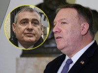 (INSET: Ukraine's Lev Parnas) US Secretary of State Mike Pompeo speaks at the Organization of American States during a gathering of the representatives in Washington, DC on January 17, 2020. (Photo by ANDREW CABALLERO-REYNOLDS / AFP) (Photo by ANDREW CABALLERO-REYNOLDS/AFP via Getty Images)