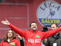 Leader of Italy's far-right League (Lega) party, Matteo Salvini (C) gestures on stage next to centre-right Senator and regional candidate Lucia Borgonzoni (L) during a campaign rally on January 18, 2020 in Maranello, a week ahead of Emilia-Romagna regional vote. - The Emilia-Romagna regional election of 2020 will take place …