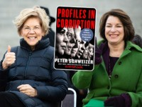 (INSET: Cover of Peter Schweizer's book 'Profiles in Corruption') COLUMBIA, SC - JANUARY 20: Democratic presidential candidates, Sen. Elizabeth Warren (D-MA), left, and Sen. Amy Klobuchar (D-MN) gesture to the crowd during the King Day at the Dome rally on January 20, 2020 in Columbia, South Carolina. The event, first …