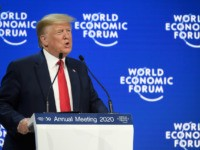 US President Donald Trump delivers a speech at the Congress center during the World Economic Forum (WEF) annual meeting in Davos, on January 21, 2020. (Photo by Fabrice COFFRINI / AFP) (Photo by FABRICE COFFRINI/AFP via Getty Images)