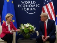 US President Donald Trump speaks with European Commission President Ursula von der Leyen prior to their meeting at the World Economic Forum in Davos, on January 21, 2020. (Photo by JIM WATSON / AFP) (Photo by JIM WATSON/AFP via Getty Images)