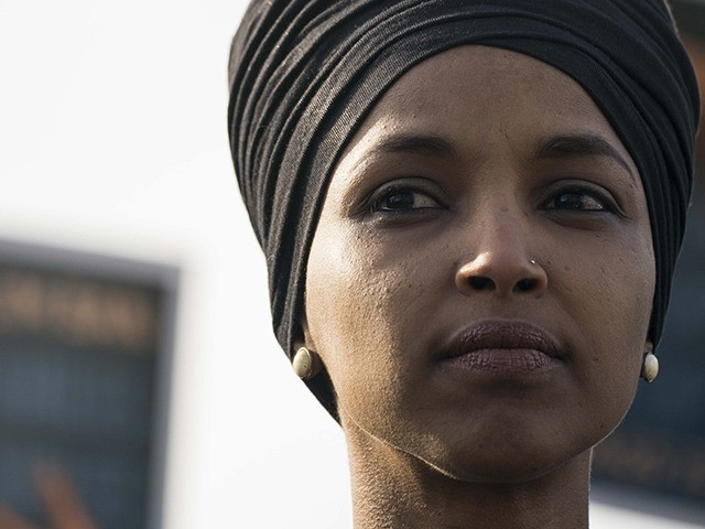 WASHINGTON, DC - JANUARY 27: Rep. Ilhan Omar (D-MN) attends a news conference outside of the U.S. Capitol on January 27, 2020 in Washington, DC. Senate and House democrats are calling for the passage of the NO BAN Act to end President Trump's travel ban which they call discriminatory. (Photo …
