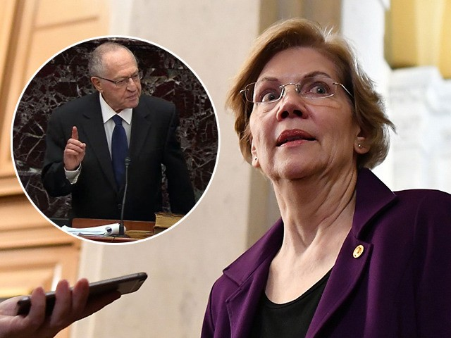 (INSET: Alan Dershowitz) Senator Elizabeth Warren (D-MA) speaks to the media during a recess in the impeachment trial of the US president at the US Capitol in Washington, DC on January 27, 2020. - White House lawyers were to resume their defense of President Donald Trump at his Senate impeachment …