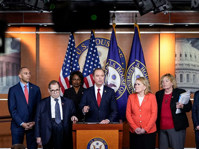 WASHINGTON, DC - JANUARY 28: (L-R) House impeachment managers Rep. Hakeem Jeffries (D-NY), Rep. Jerry Nadler (D-NY), Rep. Val Demmings (D-FL), Rep. Adam Schiff (D-CA), Rep. Sylvia Garcia (D-TX), Rep. Zoe Lofgren (D-CA) and Rep. Jason Crow (D-CO) hold a press conference after the Senate adjourned for the day during …