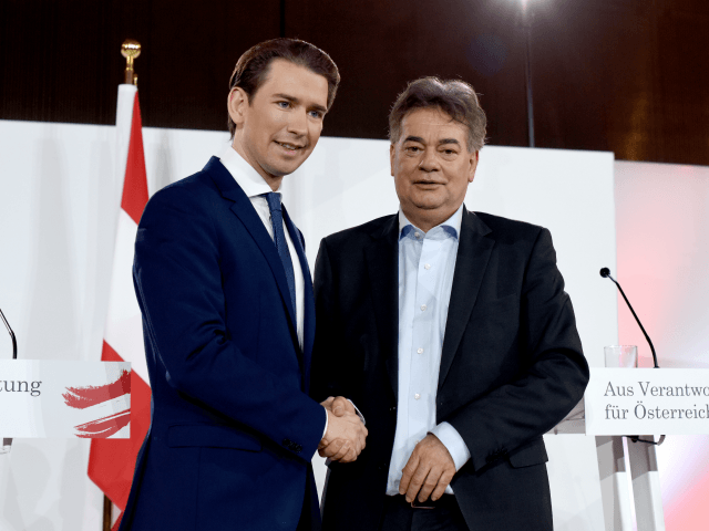 VIENNA, AUSTRIA - JANUARY 02: Sebastian Kurz, head of the Austrian People's Party (OeVP) and Werner Kogler, head of the Austrian Greens party, who have established a new Austrian government coalition, shake hands after presenting their government policy program on January 2, 2019 in Vienna, Austria. This is the first …
