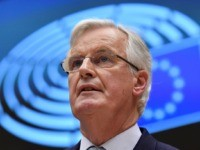 European Commission Chief Negociator Michel Barnier delivers a speech during a European Parliament plenary session in Brussels on January 29, 2020, as Brexit Day is to be set in stone when the European Parliament casts a vote ratifying the terms of Britain's divorce deal from the EU. (Photo by JOHN …