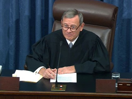 WASHINGTON, DC - JANUARY 30: In this screenshot taken from a Senate Television webcast, Supreme Court Chief Justice John Roberts speaks during impeachment proceedings in the Senate chamber at the U.S. Capitol on January 30, 2020 in Washington, DC. On Thursday, Senators continue asking questions for the House impeachment managers …