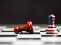 USA flag and China flag print screen on pawn chess pieces
