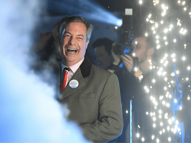 Brexit Party leader Nigel Farage smiles on stage in Parliament Square, venue for the Leave Means Leave Brexit Celebration as 11 O'Clock passes, in central London on January 31, 2020, the moment that the UK formally left the European Union. - Brexit supporters gathered outside parliament on Friday to cheer …