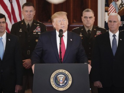 WASHINGTON, DC - JANUARY 08: U.S. President Donald Trump speaks from the White House on January 08, 2020 in Washington, DC. During his remarks, Trump addressed the Iranian missile attacks that took place last night in Iraq and said, 'ÄúAs long as I am president of the United States, Iran …