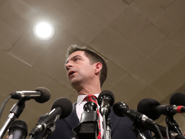 Sen. Tom Cotton (R-AR) speaks to the media after attending a briefing with administration officials about the situation with Iran, at the U.S. Capitol on January 8, 2020 in Washington, DC. Members of the House and the Senate were briefed by Secretary of State Mike Pompeo, Secretary of Defense Mark …