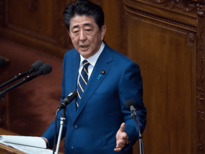 Japan's Prime Minister Shinzo Abe delivers his policy speech at the lower house of the parliament on January 20, 2020 in Tokyo, Japan. The Japanese Diet convened a 150-day ordinary session today. (Photo by Tomohiro Ohsumi/Getty Images)
