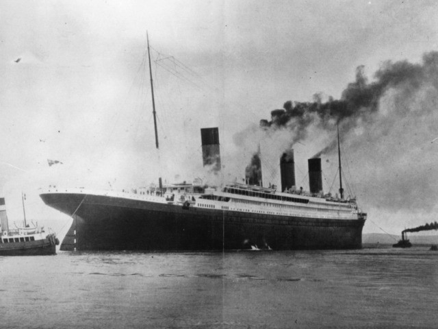 circa 1912: The ?1,500,000 luxury White Star liner 'Titanic', which sank on its maiden voyage to America in 1912, seen here on trials in Belfast Lough. (Photo by Topical Press Agency/Getty Images)