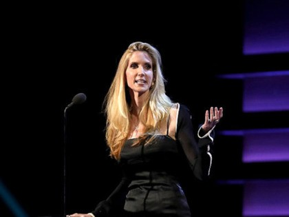 LOS ANGELES, CA - AUGUST 27: Commentator Ann Coultler speaks onstage at The Comedy Central Roast of Rob Lowe at Sony Studios on August 27, 2016 in Los Angeles, California. The Comedy Central Roast of Rob Lowe will premiere on September 5, 2016 at 10:00 p.m. ET/PT. (Photo by Christopher …