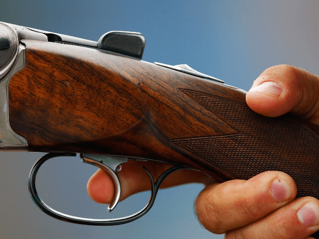 A Beretta rifle is shot during the men's trap qualification shooting event held at the Beijing Shooting Range Hall during Day 2 of the 2008 Beijing Summer Olympic Games on August 10, 2008 in Beijing, China. (Photo by Jamie Squire/Getty Images)