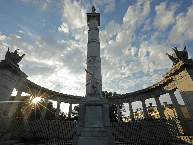 A statue of Confederate President Jefferson Davis, unveild in 1907, stands in the middle of Monument Avenue August 23, 2017 in Richmond, Virginia. Richmond Mayor Levar Stoney's Monument Avenue Commission -- composed of academics, historians and community leaders --will include an examination of the removal or relocation of some or …