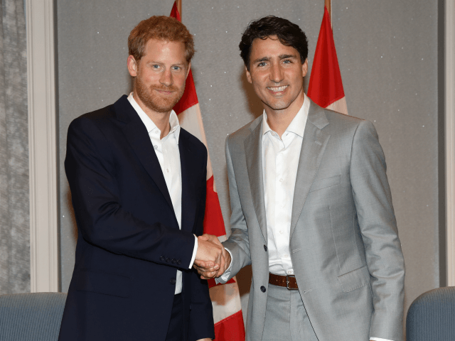 TORONTO, ON - SEPTEMBER 23: Prince Harry shakes hands with Canadian Prime Minister Justin Trudeau ahead of the Invictus Games 2017 at the Royal York Hotel on September 23, 2017 in Toronto, Canada (Photo by Chris Jackson/Getty Images for the Invictus Games Foundation )