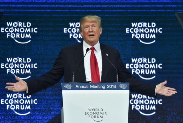 US President Donald Trump delivers a speech during the World Economic Forum (WEF) annual meeting on January 26, 2018 in Davos, eastern Switzerland. (Photo by Nicholas Kamm / AFP) (Photo by NICHOLAS KAMM/AFP via Getty Images)