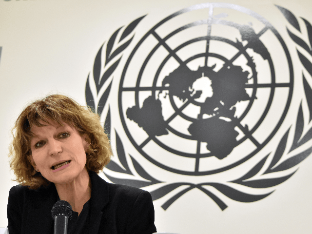 "Agnes Callamard, the UN special rapporteur on extrajudicial killings, speaks during a press conference in San Salvador on February 5, 2018. Callamard, the UN special rapporteur on extrajudicial killings, stated Monday that she had found ""a behavior pattern"" in El Salvador indicating that members of the police or the army …"