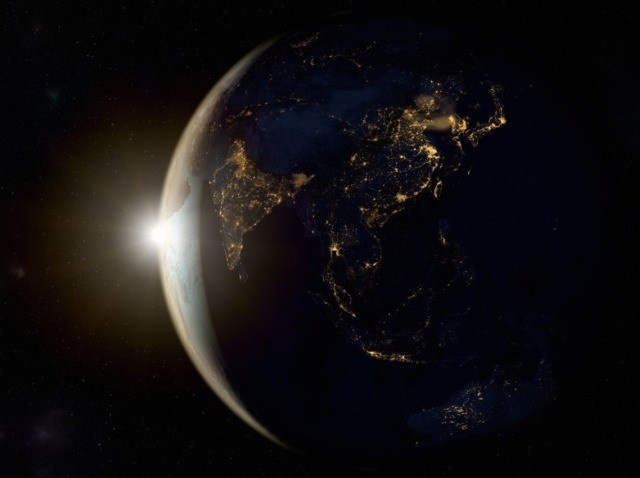 Sunrise on earth from space