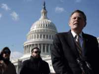 U.S. Sen. Steve Daines (R-MT) (R) speaks during a news conference in front of the U.S. Capitol March 13, 2018 in Washington, DC. Sen. Daines held a news conference to discuss the Internet sales tax. (Photo by Alex Wong/Getty Images)