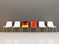 Chairs with flag of Germany and china in a row. 3D illustration