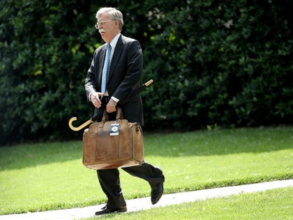WASHINGTON, DC - MAY 29: White House national security advisor John Bolton walks to Marine One while U.S. President Donald Trump was departing the White House May 29, 2018 in Washington, DC. Trump is scheduled to travel to Nashville, Tennessee later today for a campaign rally. (Photo by Win McNamee/Getty …