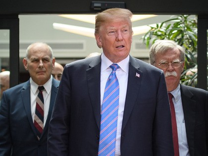 LA MALBAIE , QC - JUNE 09: US President Donald Trump (C) leaves with Chief of Staff John Kelly (L) and National Security Advisor John Bolton (R) after holding a press conference ahead of his early departure from the G7 Summit on June 9, 2018 in La Malbaie, Canada. Canada …