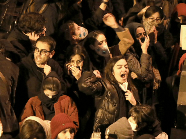 "Iranians students chant slogans as they demonstrate following a tribute for the victims of Ukraine International Airlines Boeing 737 in front of the Amirkabir University in the capital Tehran, on January 11, 2020. - Iranian police dispersed students chanting ""radical"" slogans during a gathering in Tehran to honour the 176 …"