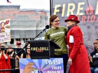 Jane Fonda and Annie Leonard, the head of Greenpeace, speak at a climate change rally in Washington, DC, on Friday. (Penny Starr/Breitbart News)