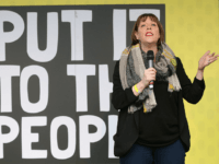 British opposition Labour Party MP Jess Phillips speaks at a rally organised by the pro-European People's Vote campaign for a second EU referendum in Parliament Square, central London on March 23, 2019. - Hundreds of thousands of pro-Europeans from across Britain were expected to march through London on Saturday calling …