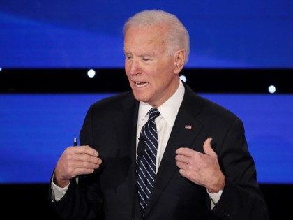 DES MOINES, IOWA - JANUARY 14: Former Vice President Joe Biden speaks during the Democratic presidential primary debate at Drake University on January 14, 2020 in Des Moines, Iowa. Six candidates out of the field qualified for the first Democratic presidential primary debate of 2020, hosted by CNN and the …