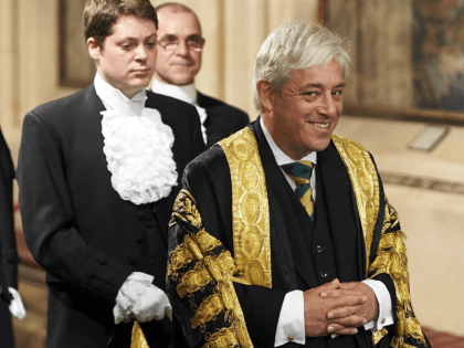 LONDON, UNITED KINGDOM - JUNE 21: Gentleman Usher of the Black Rod, David Leakey (R) walks with Speaker of the House of Commons John Bercow (L) across the Central Lobby of the Palace of Westminster after listening to the Queen's Speech during the State Opening of Parliament on June 21, …