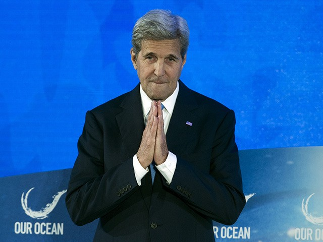 Secretary of State John Kerry speaks during the opening of the the Our Ocean 2016 conference at the State Department in Washington, Thursday, Sept. 15, 2016. The conferences focus on marine protected areas, sustainable fisheries, marine pollution, and climate-related impacts on the ocean. (AP Photo/Cliff Owen)