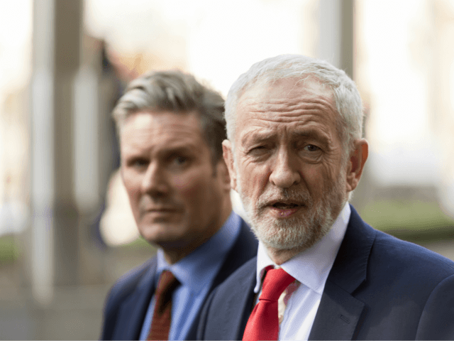 BRUSSELS, BELGIUM - MARCH 21, 2019 : Shadow Secretary of State for Exiting the European Union Sir Keir Starmer KCB QC (L) and the British Labour leader and Leader of the Opposition, Jeremy Corbyn (R) talk to the media at the Berlaymont, the EU Commission headquarters on March 21, 2019 …